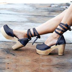 LOEFFLER RANDALL SVEN Clog Sandal Ankle Wrap Ties High Heel Platform no 6 Uta 40 #LoefflerRandall #PlatformsWedges #Casual