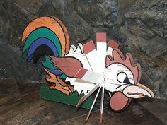 Folk Art Mad Rooster Whirligig