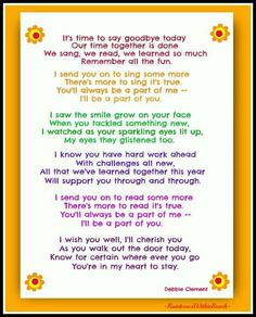 End of Year Poem by Debbie Clement (FREEBIE pdf at the Early Education Emporium) Oh man, I wish I had this at the preschool , it is sweet ! Poems For Students, Letter To Students, Preschool Poems, Preschool Classroom, Classroom Ideas, Preschool Graduation Speech, Preschool Projects, Goodbye Songs For Preschool, Preschool Garden
