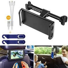 Smartphone iPhone iPad Tablet Car Headrest Mount Holder Cradle Rear Back Seat Mount w/ 3in1 Charging Cable + Headrest Hanger for iPad Samsung Galaxy Tabs Nintendo Switch Cell phone Car Mount #Smartphone #iPhone #iPad #Tablet #Headrest #Mount #Holder #Cradle #Rear #Back #Seat #Charging #Cable #Hanger #Samsung #Galaxy #Tabs #Nintendo #Switch #Cell #phone