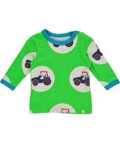 Mala flashy green t-shirt with cool tractor bubble print. mala.en.emilea.be