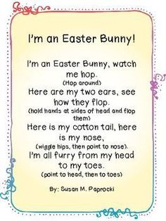 I'm an Easter Bunny Poem – Ann Dickerson I'm an Easter Bunny Poem Easter Language Arts Activities: I'm an Easter Bunny Poem April Preschool, Preschool Music, Spring Preschool Songs, Preschool Fingerplays, Easter Activities For Preschool, Montessori Activities, Spring Activities, Toddler Activities, Preschool Activities