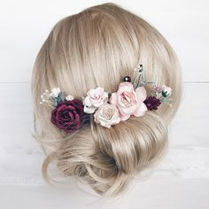 """Set of 5 hair pins with burgundy, blush peonies, roses and greenery. Measurements of flowers: 1.9/5 cm; 1.2""""/3 cm; 0.6/1.5 cm. View my shop ➳https://www.etsy.com/ru/shop/SERENlTY -------------IMPORTANT TO READ------------- Waiting list is full now. This item will be carefully made and ship"""