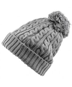 e6b880bc Womens Beanie (Grey Cable Knit With Cozy Lining and Pom) CM182T4Y5UL