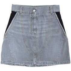 Pre-owned Gray Jean Skirt (275 BRL) ❤ liked on Polyvore featuring skirts, grey, knee length a line skirt, cotton skirts, high waisted skirts, grey a line skirt and gray skirt