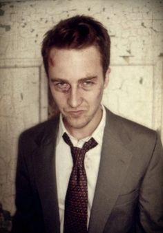 Edward Norton... with bruises. I'm not sure why looking beat up makes it better, but it does.