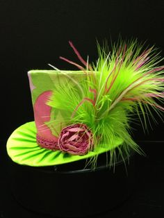 Adorable Pink and Green Mini Top Hat for by daisyleedesign on Etsy