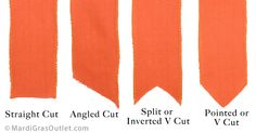Shows the different ways to trim/finish off ribbon ends. Burlap Bow: Tail Style Diagram