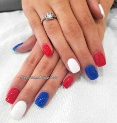Blue Nail Designs, Simple Nail Designs, July 4th Nails Designs, Dip Manicure, Patriotic Nails, Patriotic Crafts, Patriotic Party, Nagellack Trends, 4th Of July Nails