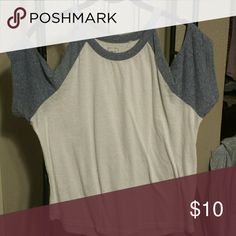 Off the shoulder baseball tee Super cute baseball tee. Loose fitting with heathered blue sleeves. Off the shoulder style. Purchased from Pacsun. Great for spring/summer. Worn once. Great condition. Size M. Smoke-free home. Make an offer! Me to We Tops Tees - Short Sleeve