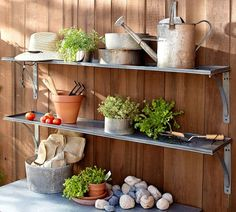 Galvanized Metal Shelf | Pottery Barn.  Not that I would pay $149 for one metal shelf, but I love the idea!