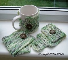 3 Styles of Marbled Greens Crocheted Mug Cosy, for the mug in your life! each by NOfkantsCurios Hobbies And Crafts, Arts And Crafts, Diy Crafts, Crochet Stitches, Knit Crochet, Broomstick Lace, Green Mugs, Conkers, Beautiful Gifts
