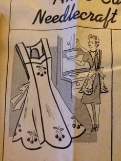 Vintage 1940s Sewing Pattern Apron 50's 40's Mail Order Anne Cabot Cherry Detail   eBay