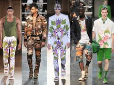 Givenchy and Jean Paul Gaultier battle it out with their versions of Hawaiian Tropic-esque prints. Both make me DROOL. (L to R: Givenchy, JPG, Givenchy, JPG.) Fifth designer unknown and don't care for, to be honest.
