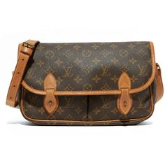 What Goes Around Comes Around Louis Vuitton Monogram Sac Gibeciere... ($1,450) ❤ liked on Polyvore featuring bags, messenger bags, brown bag, brown messenger bag, monogrammed bags and courier bag