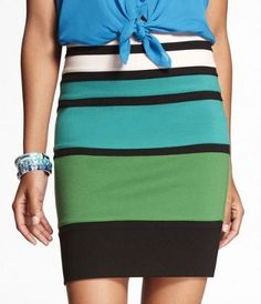 Have it...love it!  PONTE KNIT BANDED COLOR BLOCK SKIRT