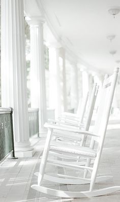 . Southern Girls, White Cottage, White Peonies, Shades Of White, New Theme, Vintage Farmhouse, Porch Swing, Rocking Chair, Pure Products