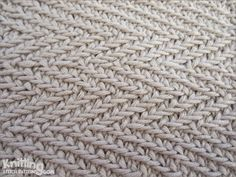 The Woven Transverse Herringbone stitch creates a thick and close knitted textured design which adds beauty.  |  knittingstitchpatterns.com