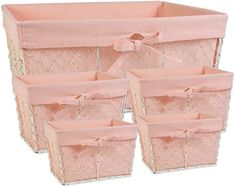 Amazon.com: DII Z01915 Chicken Wire Baskets Antique White for Storage Removable Fabric Liner, Assorted Set of 5, Blush, 5 Piece: Home & Kitchen Hand Towels Bathroom, Basket Liners, Wire Storage, Metal Baskets, Chicken Wire, Basket Decoration, Arts And Crafts Supplies, Simple Designs, Blush Pink