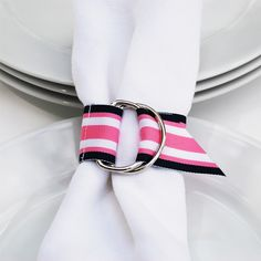 Wholly crap this is cute. Nantucket Napkin Wraps - Navy/Pink/White