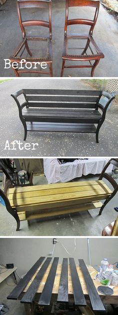 10 Amazing DIY Furniture Transformations – How to Turn 2 Chairs into a Bench - DIY Möbel Refurbished Furniture, Repurposed Furniture, Pallet Furniture, Furniture Projects, Furniture Makeover, Home Projects, Furniture Plans, Furniture Refinishing, Diy Furniture Vintage