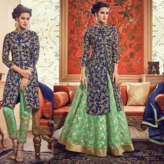 The kameez made in banarasi silk with thread embroidery. with designer bottom in banarasi silk skirt and trouser and dupatta. embroidery done with zari resham extra. if you need stitching service or else we send unstitched. | eBay!