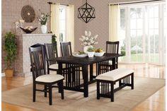 5 PCs. Black Solid Pine Wood Dining Set 5046-72 Homelegance