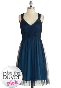 Sway Through the Soiree Dress - Blue, A-line, Sleeveless, Solid, Ruching, Formal, V Neck, Holiday Party