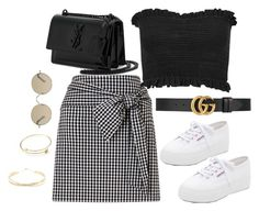 """Untitled #4257"" by magsmccray ❤ liked on Polyvore featuring Miss Selfridge, Gucci, Superga, Yves Saint Laurent, Tura and Lana Jewelry"