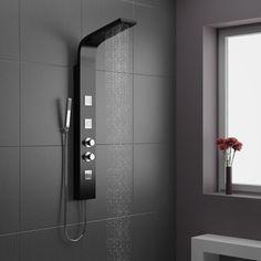 une jolie salle de bain noire avec colonne de douche noire