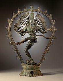 Statue depicting Shiva dancing as Nataraja (Lord of the Dance). The rhythm of dance is a metaphor for the balance in the universe which Shiva is believed to hold so masterfully.    His most important dance is the Tandav. This is the cosmic dance of death, which he performs at the end of an age, to destroy the universe.