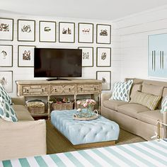 Updating tv console wall. Beach coastal images