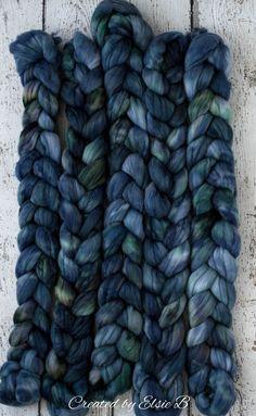 Slate Blue - Hand dyed Organic Merino / Cashmere combed top. Good for spinning yarn, felting, blending