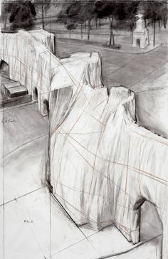The Wall (Project for a Wrapped Roman Wall) by Christo. Loving the drawings more than the actual wrapping.