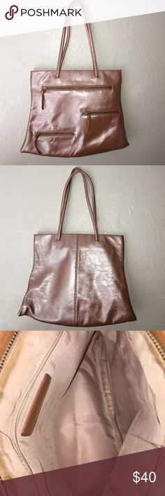 A SONDRA ROBERTS: Purse Body 100% leather, Lining 100% Polyester, Color: salmon/ blushed pink, Has three outside pockets with zippers, three inside pockets and detachable keychain hanger Sondra Roberts  Bags Shoulder Bags