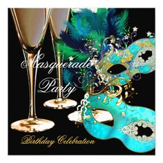 Masquerade Party Invitations Masquerade Birthday Party Teal Blue Gold Masks Card