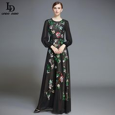 Women's Elegant Long Sleeve Embroidered Floral Print Maxi Long Dress Tag a friend who would love this! www.sukclothes.co... #shop #beauty #Woman's fashion #Products