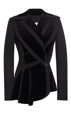 Velour Paneled Peplum Jacket by ANTONIO BERARDI for Preorder on Moda Operandi