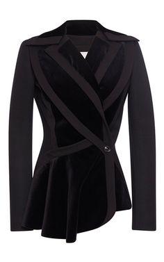 Velour Paneled Peplum Jacket by ANTONIO BERARDI for Preorder on Moda Operandi