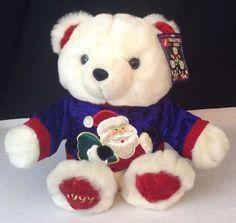 "NEW w Tags 1999 Kmart Christmas  Bear 15""  Large Boy Blue Bear Santa Sweater #DanDee #Christmas"