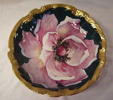 Antique Limoges Porcelain Bowl Coiffe Blakeman Henderson France Rose Dish B&H 10