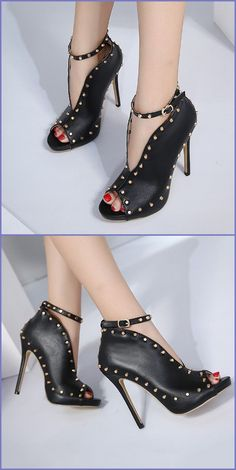 Shoespie Rivet Buckle Peep Toe Stiletto Heel