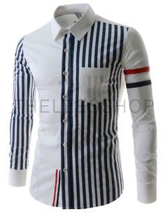 (CEL54-WHITE) Mens Casual Slim Fit Stripe 1 Chest Pocket Stretchy Long Sleeve Shirts