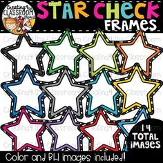 Star Check Frames Clipart  {TpT Sellers Clipart} is perfect for customizing all of your Classroom Resources. Images have been provided in color and bw in 300 dpi. Click on the link to view this set and more in my Teachers Pay Teachers shop- Creating4 the Classroom #Clipartforteachers