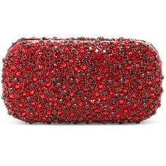 alice + olivia Faux Crystals Hard Case Large Clutch ($220) ❤ liked on Polyvore featuring bags, handbags, clutches, red, beaded clutches, faux-leather handbags, jewel purse, metal purse and red clutches