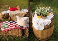Seating decor at Ranch outdoor wedding