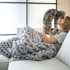 Ultra-Cozy Giant Knit Blankets Are Made Without Any Knitting Needles Necessary