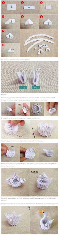 Üç boylu origami yani modüler origami, en karışık ve detaylı origami türüdür. Aynı temel parçaları bileştirerek istediğimiz modelleri yapabiliriz. Bugün en popüler modüler origami örneği olan 3 boyutlu origami kuğu yapacağız. Evimiz için oldukça dekoratif ve sevdiklerimiz için güzel bir hediye olacak.