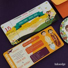 Bicycle Diaries - Sunglow Creative Wedding Invitation Cards #Retro #Cartoon #Illustration #Couple #Floral #Indian #Wedding #Invitation #Card #Circular #Cut #Modern
