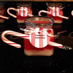 Homemade peppermint sugar scrub, great for holiday gifts!